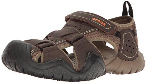 Crocs Men's Swiftwater Leather Fisherman Sandal, Espresso/Walnut, 13 M US