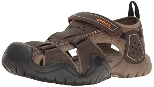 Crocs Men's Swiftwater Leather Fisherman Sandal, Espresso/Walnut, 11 M US