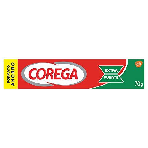Corega - Crema Fijadora para Prótesis Dentales, Extra Fuerte, Sabor a Menta Fresca - 70 g