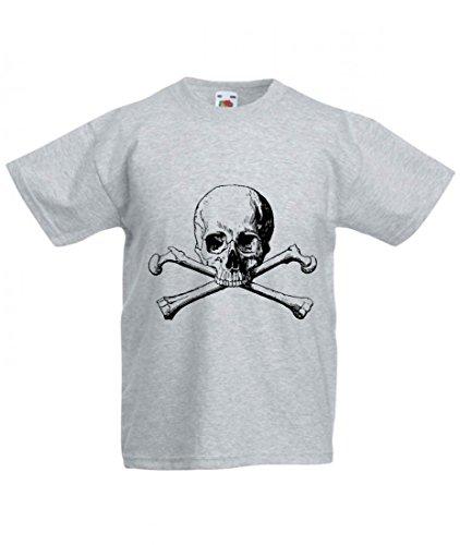 Camiseta con texto en alemán 'GEKREUZTEN Knochen- SCHÄDEL- Gefahr- Tod- Halloween- Toten-Pirat- Horror- Skelett- Knochen- WARNUNG- Calavera para hombre- damas- niños - 104-5XL gris Talla del hombre: 4X-Large