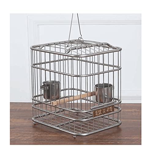 Gabbie per uccelli decorative Gabbia di volo dell' uccello dell' acciaio inossidabile con supporto di rotolamento, gabbia per uccelli in metallo con manico, gabbia per uccelli portatili per piccoli u