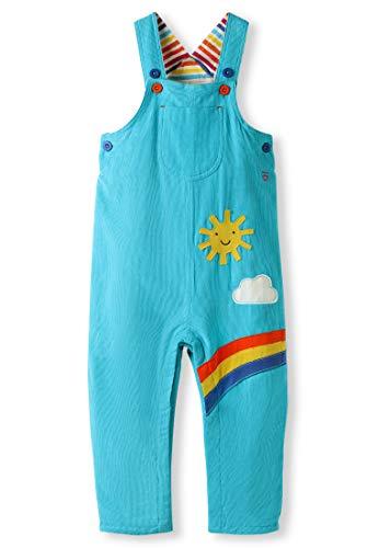 kIDio Bio-Baumwolle Latzhose mit Applikation - Baby Kleinkind Mädchen Junge - Blau Regenbogen Streifen (0-4 Jahre) (6M (3-6 Monate), Türkis)