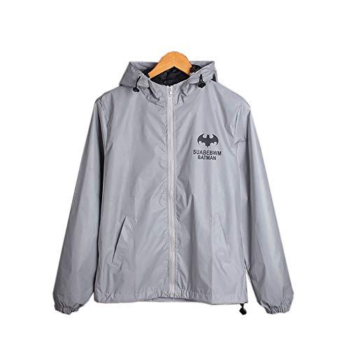 Subobo Reflecterende jas, mannen outwear reflecterende rits met capuchon windjack licht jack fietsen hardlopen winddichte jas voor mannen lichte loopjas