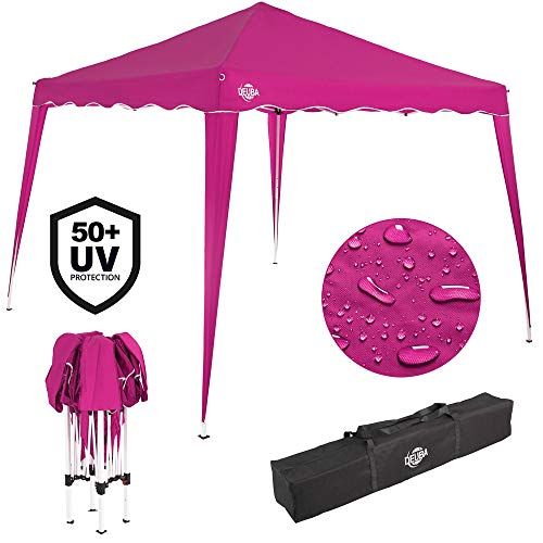 Deuba 3x3 Pop Up Gazebo Capri Canopy Shelter Party Tent Marquee Wedding Outdoor Free Carry Bag Pegs Ropes Colour Choice (Pink)