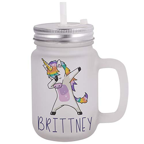 Personalized Gifts Dabbing Unicorn Coffee Mug - 12oz Frosted Mason Jar Coffee Mug with Lid and Straw -Birthday Gifts, Christmas Gifts, Mother's Day Gifts, Father's Day Gifts, Funny Mug for Kids