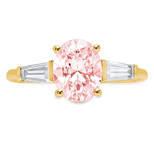 2.5 ct Oval Baguette cut 3 stone Solitaire Accent Genuine Flawless Pink Simulated Diamond Gemstone Engagement Promise Statement Anniversary Bridal Wedding Ring 18K Yellow Gold Size 6