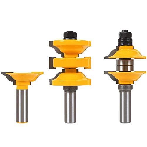 Meccion Classic 3 Bit Extended Tenon Entry Door Rail and Stile Router Bit Set mit 1/2 Zoll Schaft Hartmetall bestückt Professionelle Holzbearbeitung Cutter Werkzeuge