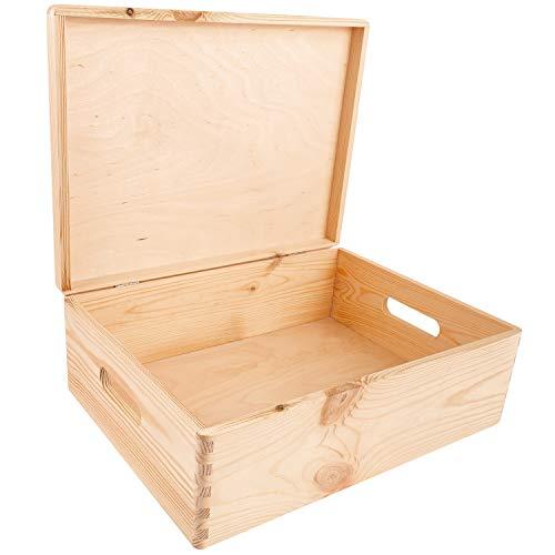 Creative Deco XL Große Natur Holz-Kiste mit Deckel | 40x30x14 cm (+/-1cm) | Erinnerungsbox Baby | Holz-Box Unlackiert Kasten | Griffen | Für Dokumente, Spielzeug, Werkzeuge | ROH & UNGESCHLIFFE