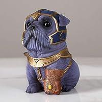 SLHjun ホームキーホルダークリエイティブ漫画パーソナリティ犬貯金箱レジンクラフトインテリアデコレーションギフトを彫刻 (Color : Purple)