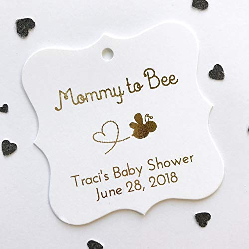 Mommy to Bee Foiled Baby Honey Jar Shower Favor Tags (FS-289-F)