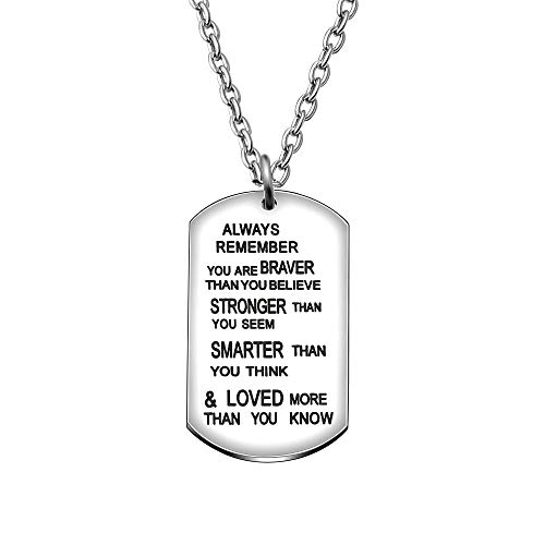 CAROMAY Pendant Necklace Inspirational Graduation Gift Courage is Not The Absence of Fear for Men Women Son Girls (for All)