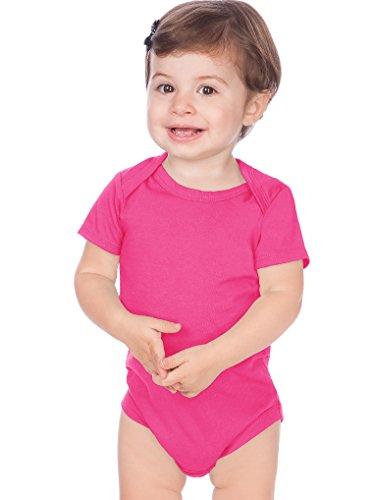 Kavio! Unisex Infants Lap Shoulder Short Sleeve Onesie Jersey (Same IJC0431) Hot Pink 12M