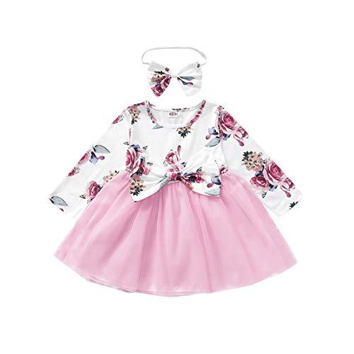Borlai Tutu-Kleid aus Netzstoff für Babys, Mädchen, elegantes Kleid mit Stirnband, 2 Stück Gr. 86, rose