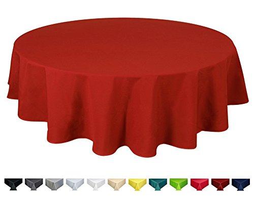 Home Direct Nappe de qualité Lourde, Facile d'entretien, Ronde 180 cm Uni Rouge