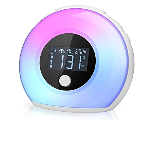 Nachtlampe mit Bluetooth Lautsprecher, KKUYI Dimmbar Stimmungslicht mit LCD Display/Smart Wecker, 4 Helligkeit, 5 Farbwechsel, Vibration sensor drahtlos Bettlampe für Schlaf Kinder Geschenk