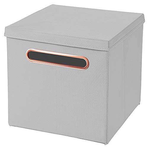 Stick&Shine 1x Aufbewahrungs Korb Hellgrau Faltbox 32,5 x 32,5 x 32,5 cm mit Rosegold Griff Regalkorb faltbar, mit Deckel