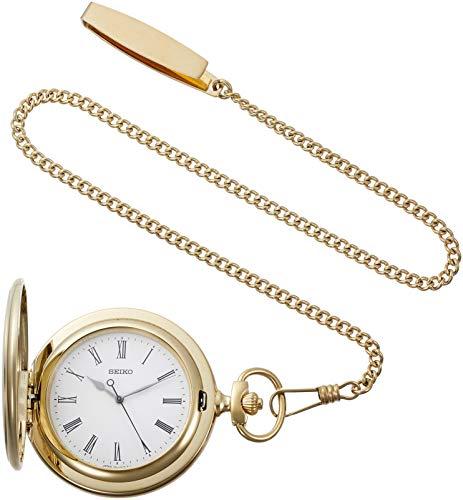 [セイコーウォッチ] 懐中時計 ゴールドケース ローマ数字表記 ふた付 チェーン付 SAPQ008
