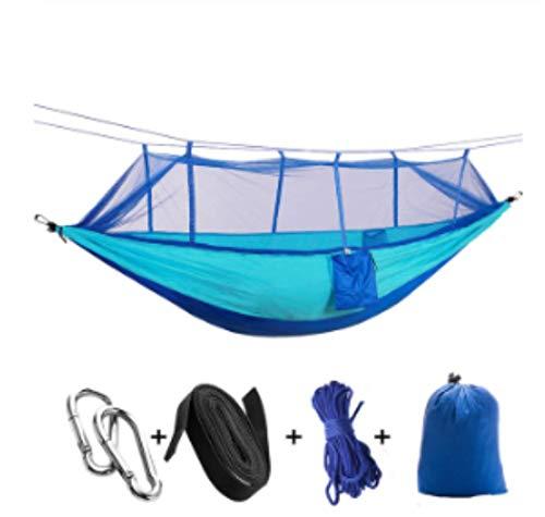 Hamac de Camping/Jardin avec moustiquaire Mobilier d'extérieur 1-2 Personne Portable lit Suspendu Force Parachute Tissu Sommeil Swing Deux Bleu