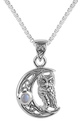 Jewelry Trends Sterling Silver Celtic Crescent Moon Owl Pendant with Moonstone on 18 Inch Necklace