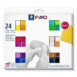 Staedtler FIMO Soft, Assortiment de 24 demi-pains de pâte FIMO aux couleurs vives assortis, Pâte à modeler durcissant au four et facile à démouler, 8023 C24-1