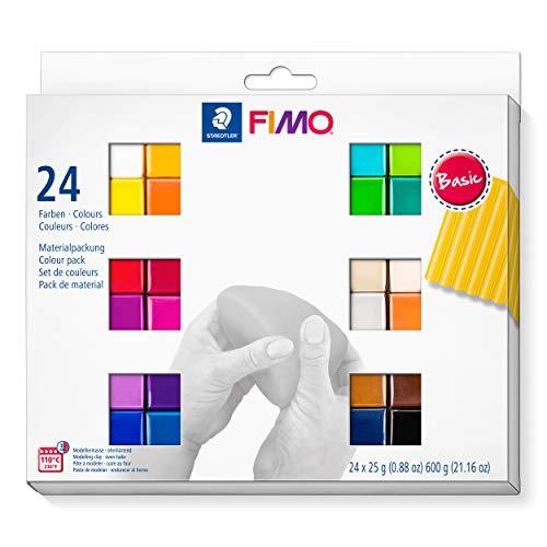 STAEDTLER 8023 C24-1 soft ofenhärtende Modelliermasse. Kartonetui mit 24 sortierten Basic-Farben, 24 Halbblöcke à 25 g