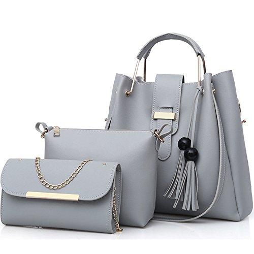 FiveloveTwo 3Pcs Bag Set PU cuir Sac portés main + Fourre-Tout + Sac à Bandoulière,Femmes Mode Handbag Set Pochettes Clutches Sacs portés épaule ensemble de sac Gris