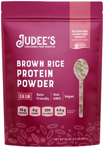 Judee's Brown Rice Protein Powder (80% Protein) 1.5 lb (3 lb Also) - Keto, Non GMO, Vegan, Sprouted - Dairy Free, Soy Free, Dedicated Gluten & Nut Free Facility, 21 Grams Protein per Serving