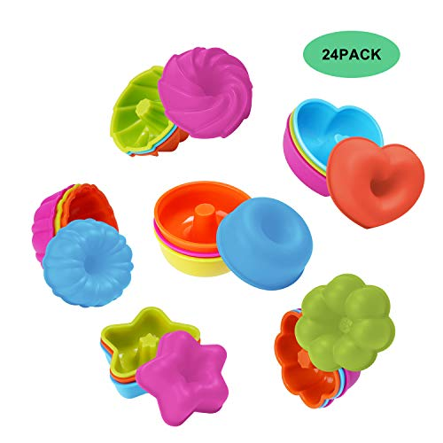 24 Pack Silicone Baking Cups Donut Mold Cupcake Baking Pan Set Nonstick Muffin Jello Bagel Pan Mold Tray Tin for Oven Microwave Dishwasher Safe