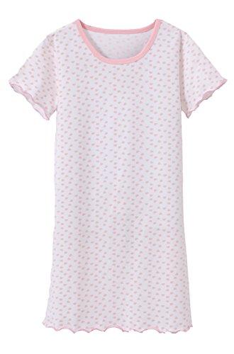 Nachthemd Nachthemd Mädchen niedlich Herz gedruckt Schlaf Shirt weichen bequemen Nachtwäsche Nachthemd Pyjamas Weiß 8-9 Jahre alt Tag 140