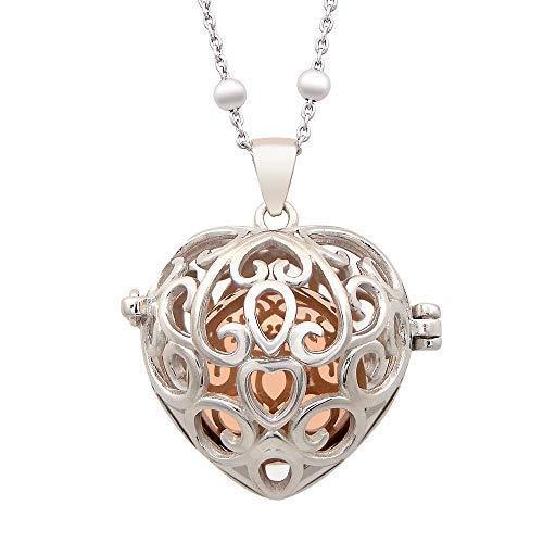 Puca Jewels - Collar con llamador de ángeles, regalo para mujer o niña, de acero y aleación de bronce con colgante sonoro perforado en forma de corazón, chapado en oro blanco