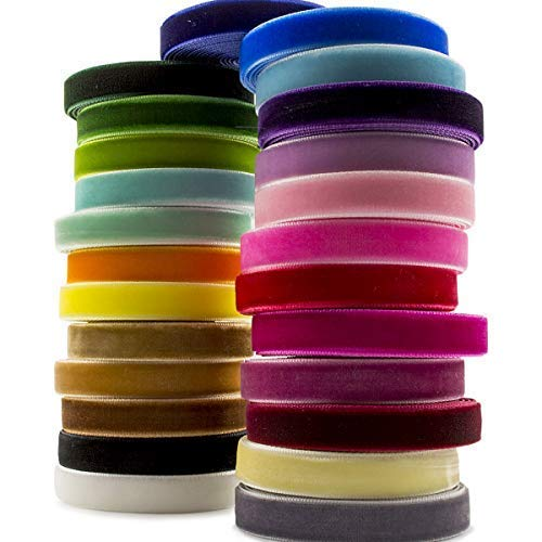 Summer-Ray 50 yardas (2 yardas x 25 colores) 3/8 pulgadas 10 mm cinta de terciopelo Value Pack