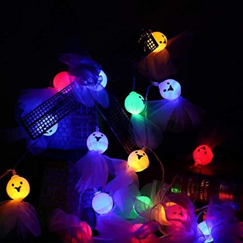 Fulighture Halloween Dekorationen,Geist-lichterkette,Bunt Lichterketten, Batteriebetrieben, für Halloween,Gärten,für Dekorationen Outdoor Indoor1er-Pack(Batterie nicht enthalten)