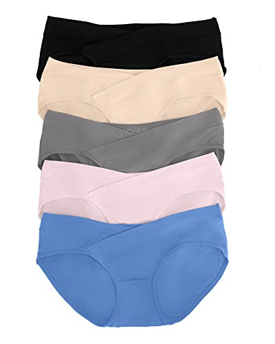 Kindred Bravely Under The Bump Maternity Underwear Pregnancy Panties - Bikini 5 Pack (Small, Assorted)