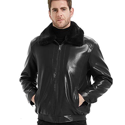 Heren business-blazer lederen jas Plus grootte verdikt warm wind doorlatend Trenchcoat Plus fluweel afneembare kraag bovenkleding