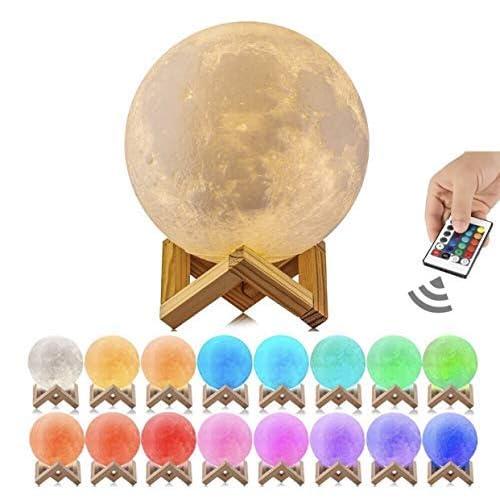 50x 3D Printing Moon Lamp USB LED Night Lunar Light 16 Colors Remote Control MY