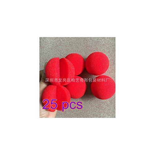 Nariz roja de payaso hecha con espuma de la marca Flyyfree, 25 unidades. Ideal para disfraces