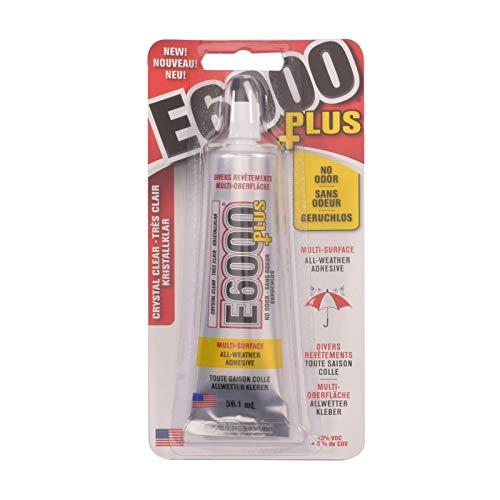 Eclectic Products inc. E6000 Plus Transparente Multiusos, Impermeable y Pintable, Pegamento de Manualidades Fuerte y Flexible para Pegar Madera, Vidrio, Tela, Cerámica, Metal y más, 56.1 ml