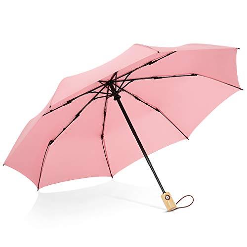 DORRISO Damen Automatik Regenschirm Windsicher Leicht Kompakt Stabiler Regenschutz Dauerhafte Verstärkte Reise Sonnenschirm Taschenschirm Rosa