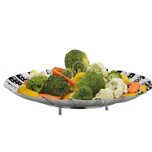 MYHZH Légumes télescopique en Acier Inoxydable Panier Vapeur, Vapeur Pliant Insert pour casseroles, autocuiseurs, Crock Pot et,Large