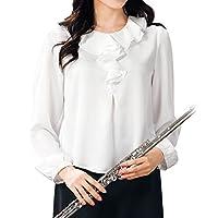 【コーラス衣装】ラッフルカラーブラウス TSS1780-1-3315▼白 ブラウス トップス コーラス 衣装 合唱 演奏