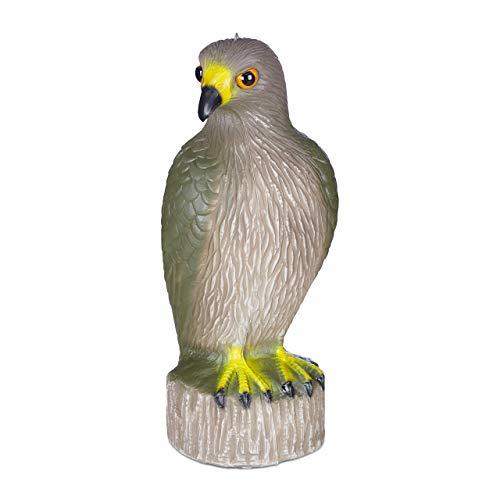 Relaxdays Vogelschreck Adler, sitzend, Stellen & Hängen, Dekofigur, Taubenschreck für Garten, Balkon, Terrasse, braun