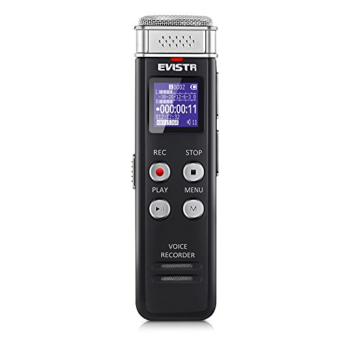 EVISTR 8GB Digital Voice Recorder with Playback - Portable Recorders for Lectures Sound Audio Recording Device Dictaphone