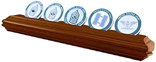 DECOMIL - Military Collectible Challenge Coin Holder (Medium, 1 Rows) Solid Walnut