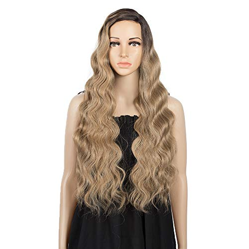 """REMY FORTE 28""""Synthetic Wigs With Long Body Wave Lace Wigs with 5""""Deep Natural Hairline Synthetic Wigs For Black Women Side Part(Ombre Brown)"""