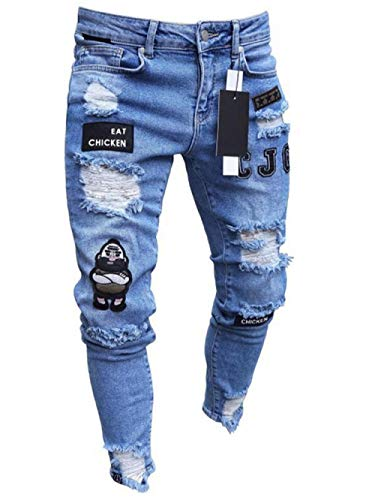Jeans Pantalon Herren Jeans Skinny Hip Hop Coole Streetwear Biker Ripped Zipper Jeans Slim Herren Allmählich Farbe Bleistift Homme Elastic Force Jeans-Blue_28