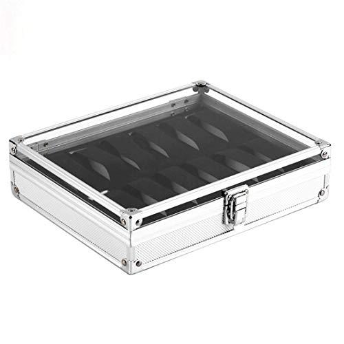 Swiftswan Silber Aluminium Platz schmuck 12 Slot Uhr Display Regal aufbewahrungskoffer Uhr vitrine schmuck aufbewahrungsbox