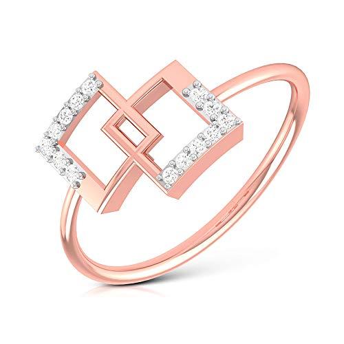 Anillo de declaración de diamante certificado SGL, anillo de boda de dama de honor, HI-SI claridad de color diamante abierto cuadrado, anillo de compromiso para mujeres, 14K Oro rosa, Size:EU 57