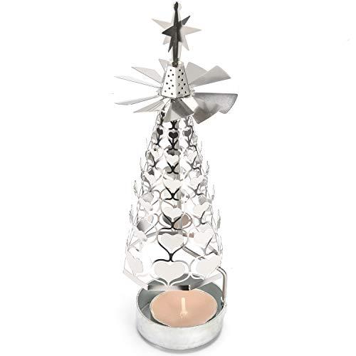 クリスマス ロータリーキャンドルホルダー ハートマークのクリスマスツリーがキラキラと回転します ロマン...