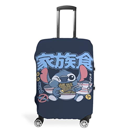 Stitch eat Japanese Ramen Noodles Cuddly Various Colors Travel Luggage Cover Protector Baggage Suitcase Cover Protector Elastic Sleeve 18 to 32 Inch for Carry On Luggage White s (49x70cm)