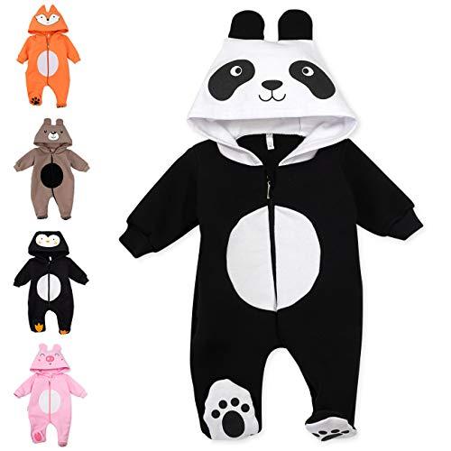 Baby Sweets Baby Tier Strampler Unisex schwarz im Motiv: Panda/Baby-Overall als Tierstrampler mit Kapuze für Neugeborene & Kleinkinder in der Größe Newborn (56)